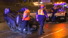 Rollover Crash On A Busy Freeway Stock Footage