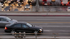 Pan Up of Heavy Traffic in Downtown Los Angeles Stock Footage