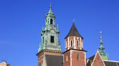 Wawel castle in Krakow, Poland. Transition from a close up to the general Stock Footage