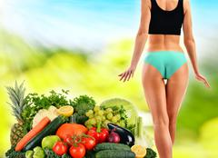 dieting. balanced diet based on raw organic vegetables and fruits - stock photo