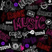 Black seamless music background. - stock illustration