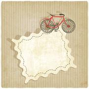 retro background with bicycle - stock illustration