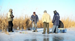 Fishermen on the ice. Stock Footage