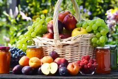 fresh ripe organic fruits in the garden. balanced diet. - stock photo