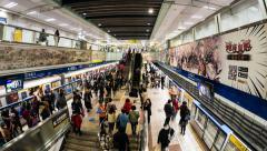 4k - Commuters taking Subway (MRT) - Taipei Stock Footage