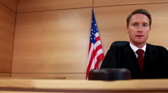 Stock Video Footage of Judge calling order with gavel in american court