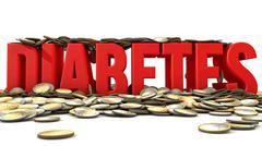 Diabetes and money - stock illustration