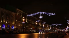 St. Petersburg, Nevsky Prospect, The Night Before Christmas Stock Footage