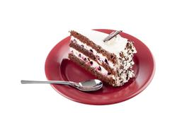 multilayer cake on plate - stock photo