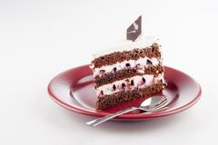 multilayer cake on plate with spoon - stock photo