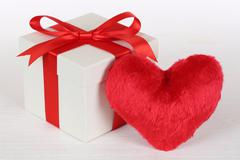 gift box and heart love topic for valentine's or mother's day gifts - stock photo