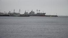 Naval Vessel Kiel Germany 2 Stock Footage