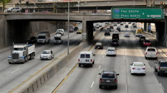Time Lapse View of Traffic on Busy Freeway in Downtown Los Angeles California - stock footage