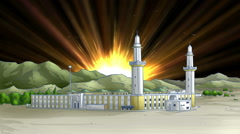 Holy Mosque With Light in Saudi Arabia Stock Footage