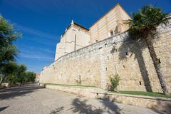 Wide angle view of Santa Clara Convent and wall in Tordesillas Stock Photos