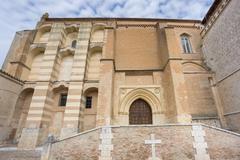 Wide angle view of Santa Clara Convent in Tordesillas, facade Stock Photos