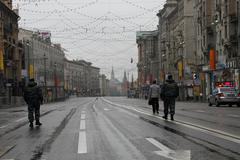 free road to the kremlin and police officers. before procession of communists - stock photo