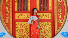 Woman in dress of Chinese traditional. Stock Footage