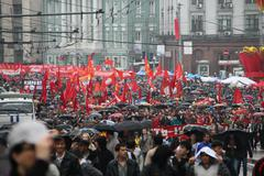procession of communists in moscow - stock photo