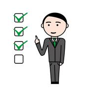 Business man with completed tasks - stock illustration