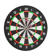 Old perforation dartboard with flags on darts Stock Photos