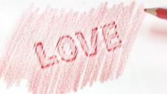 """Word """"Love"""" appear in white background Stock Footage"""
