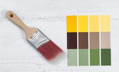 New hand paint brush and future several color sample templates Stock Photos
