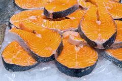 Fresh filet of salmon Stock Photos