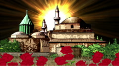 Mawlana Jalal Ad-Din Muhammad Rumi Tomb And Mosque in Konya Anatolia Stock Footage
