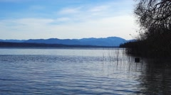 View of Lake Starnberg and the Alps Stock Footage