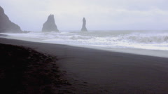 Huge arched beach at  Cape Dirholaey in southern Iceland Stock Footage