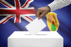 ballot box with national flag on background - turks and caicos islands - stock photo