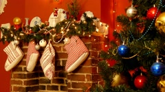 Christmas interior in red Stock Footage
