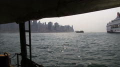 Hong Kong from a ferry Stock Footage