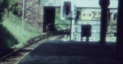 Berlin 1970 70s 16mm Tram Train Station Krumme Lanke Arriving Stock Footage