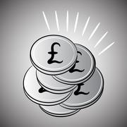 Silver coins sterling pounds Stock Illustration