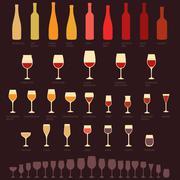 Wine glasses and bottle types, Stock Illustration