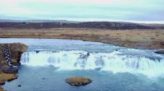 Gullfoss Waterfalls in Iceland Stock Footage
