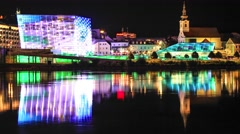 Timelapse of the illuminated building of Arstechnica in Linz Stock Footage