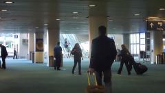 Airport Travelers Walking to Gates 1 Stock Footage