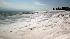 Travertine Pools And Terraces In Pamukkale - stock footage