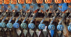4k A spinning machine collect the silk threads in Reeling machine in operation. Stock Footage