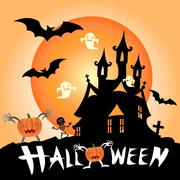 illustration of halloween haunted house surrounded by bats - stock illustration
