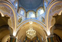 Interior of the roman catholic cathedral of fira. Stock Photos
