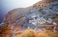 cablecar in fira, santorini greece - stock photo