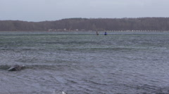 Fishermen in stormy Baltic Sea Germany 1 Stock Footage