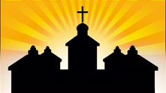 Church silhouette with sunburst background Stock Footage