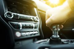 Car drive manual shifting transmission. manual transmission gear shifting. Stock Photos