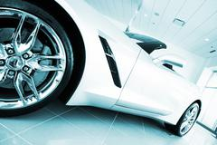 Convertible super car in blue color grading. sporty car in the showroom. Stock Photos