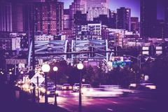 denver commute. downtown denver, speer boulevard. - stock photo
